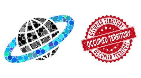 Mosaic planetary ring and rubber stamp seal with Occupied Territory caption. Mosaic vector is created with planetary ring icon and with random circle elements. Occupied Territory seal uses red color,