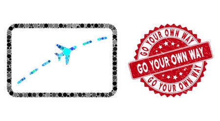 Collage plane route and corroded stamp seal with Go Your Own Way text. Mosaic vector is designed with plane route icon and with randomized spheric spots. Go Your Own Way stamp seal uses red color,