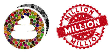 Mosaic shitcoins and corroded stamp seal with Million text. Mosaic vector is created with shitcoins icon and with random spheric items. Million stamp uses red color, and scratched surface. Illustration