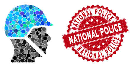 Mosaic soldier helmet and grunge stamp seal with National Police phrase. Mosaic vector is composed with soldier helmet icon and with random circle spots. National Police stamp seal uses red color,