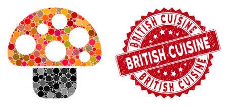 Mosaik-Pilz- und Stempelsiegel mit britischer Küche. Mosaikvektor wird mit Pilzsymbol und mit verstreuten runden Flecken gebildet. Das Stempelsiegel der britischen Küche verwendet rote Farbe,