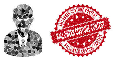 Mosaic dracula and rubber stamp seal with Halloween Costume Contest caption. Mosaic vector is created with dracula icon and with randomized spheric items.