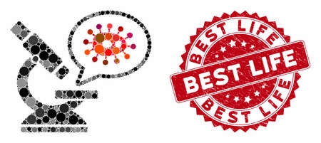 Mosaic microbe zooming and distressed stamp watermark with Best Life phrase. Mosaic vector is composed with microbe zooming icon and with randomized circle spots. Best Life stamp seal uses red color,
