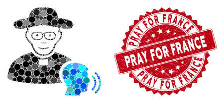 Mosaic believer confession and grunge stamp seal with Pray for France caption. Mosaic vector is formed with believer confession icon and with scattered round items.