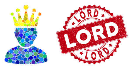 Mosaic king admin and corroded stamp watermark with Lord phrase. Mosaic vector is created with king admin icon and with scattered spheric elements. Lord stamp seal uses red color,