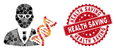 Mosaic genetic engineer and corroded stamp watermark with Health Saving text. Mosaic vector is created with genetic engineer icon and with scattered spheric elements. Vektorgrafik