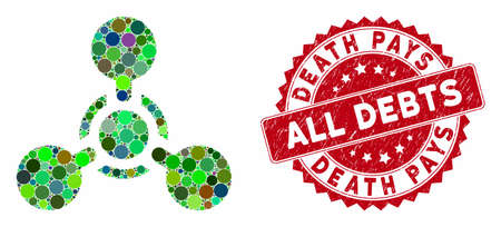 Mosaic WMD nerve agent chemical warfare and rubber stamp seal with Death Pays All Debts phrase. Mosaic vector is created with WMD nerve agent chemical warfare icon and with random round elements. Ilustrace