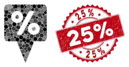 Mosaic percent map pointer and rubber stamp watermark with 25% caption. Mosaic vector is designed with percent map pointer icon and with randomized round spots. 25% stamp uses red color,