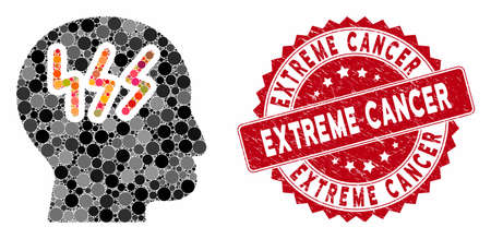 Mosaic headache and rubber stamp watermark with Extreme Cancer phrase. Mosaic vector is created with headache icon and with randomized circle items. Extreme Cancer stamp seal uses red color,