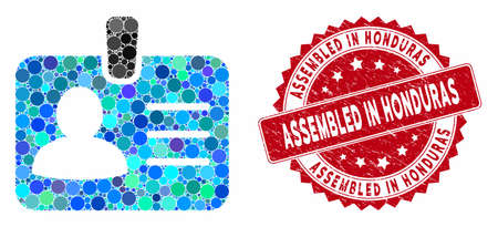 Mosaic person badge and grunge stamp seal with Assembled in Honduras phrase. Mosaic vector is formed from person badge icon and with random spheric spots.