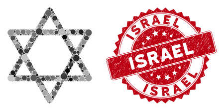 Collage star of David and grunge stamp seal with Israel phrase. Mosaic vector is designed with star of David icon and with random round elements. Israel stamp seal uses red color, and grunge surface. Ilustração