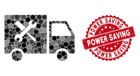Mosaic service car and rubber stamp watermark with Power Saving caption. Mosaic vector is formed with service car icon and with scattered round items. Power Saving stamp seal uses red color,