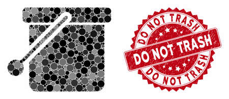 Mosaic bucket and grunge stamp seal with Do Not Trash text. Mosaic vector is created with bucket icon and with random spheric elements. Do Not Trash stamp seal uses red color, and grunge texture.