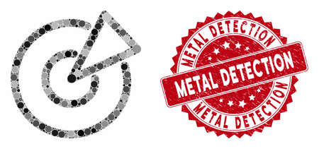 Mosaic radar and distressed stamp seal with Metal Detection text. Mosaic vector is composed with radar icon and with random circle items. Metal Detection stamp seal uses red color, Illustration