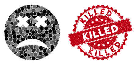 Mosaic blind smiley and rubber stamp seal with Killed phrase. Mosaic vector is designed with blind smiley icon and with randomized round items. Killed stamp uses red color, and scratched design.