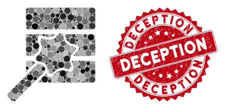 Mosaic database wizard and corroded stamp seal with Deception phrase. Mosaic vector is composed with database wizard icon and with scattered circle spots. Deception stamp seal uses red color, Illustration