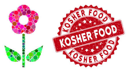 Mosaic flower plant and grunge stamp seal with Kosher Food phrase. Mosaic vector is designed from flower plant icon and with random round items. Kosher Food stamp seal uses red color, Illustration
