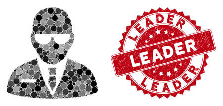 Mosaic chief and rubber stamp seal with Leader caption. Mosaic vector is created with chief icon and with randomized circle spots. Leader stamp uses red color, and rubber design.