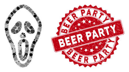 Mosaic horror mask and rubber stamp watermark with Beer Party caption. Mosaic vector is created with horror mask icon and with random round elements. Beer Party stamp seal uses red color,