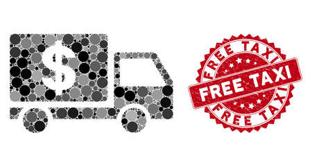 Mosaic dollar delivery and rubber stamp seal with Free Taxi caption. Mosaic vector is composed with dollar delivery icon and with random spheric spots. Free Taxi stamp seal uses red color, Ilustração