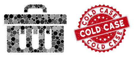 Collage analysis case and grunge stamp seal with Cold Case phrase. Mosaic vector is formed with analysis case icon and with randomized circle items. Cold Case stamp seal uses red color, Ilustracje wektorowe