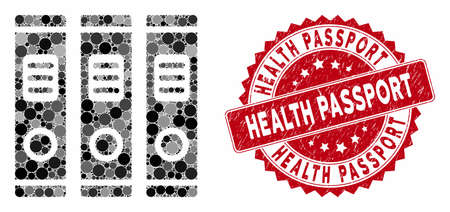 Mosaic books and grunge stamp seal with Health Passport text. Mosaic vector is composed with books icon and with random round items. Health Passport seal uses red color, and scratched design.