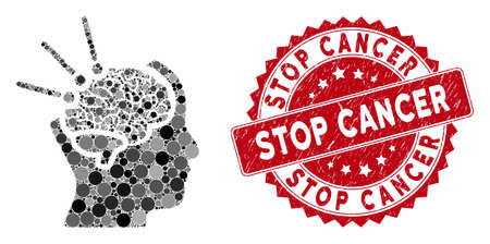 Collage brain operation and grunge stamp watermark with Stop Cancer caption. Mosaic vector is composed with brain operation icon and with random round items. Stop Cancer stamp uses red color,
