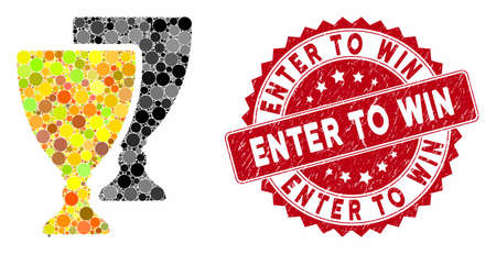 Mosaic award cups and grunge stamp seal with Enter to Win caption. Mosaic vector is created with award cups icon and with scattered circle items. Enter to Win stamp seal uses red color,