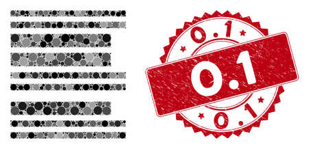 Mosaic barcode and grunge stamp watermark with 0.1 phrase. Mosaic vector is composed with barcode icon and with random circle items. 0.1 stamp uses red color, and rubber texture. Vectores