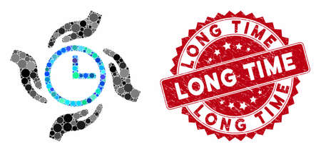 Collage time care and grunge stamp watermark with Long Time phrase. Mosaic vector is composed with time care icon and with randomized circle elements. Long Time seal uses red color, and grunge design.