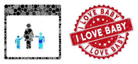 Mosaic mother calendar page and distressed stamp seal with I Love Baby phrase. Mosaic vector is created with mother calendar page icon and with scattered round items. I Love Baby seal uses red color, Ilustração