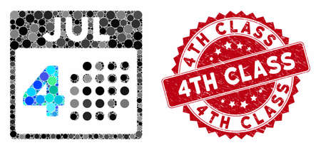Mosaic independence day and rubber stamp seal with 4Th Class text. Mosaic vector is designed with independence day icon and with random circle elements. 4Th Class stamp uses red color,