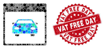 Mosaic automobile car calendar page and corroded stamp seal with Vat Free Day text. Mosaic vector is created with automobile car calendar page icon and with scattered spheric elements. Illustration