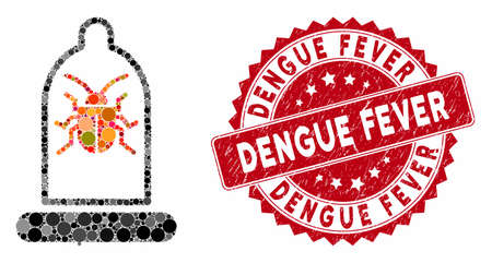 Mosaic condom bug and grunge stamp watermark with Dengue Fever phrase. Mosaic vector is designed with condom bug icon and with randomized circle items. Dengue Fever stamp seal uses red color, Illustration