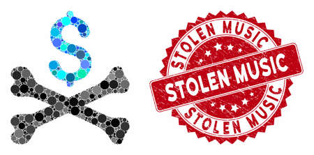 Mosaic mortal debt and rubber stamp watermark with Stolen Music text. Mosaic vector is designed with mortal debt icon and with scattered round elements. Stolen Music stamp seal uses red color,