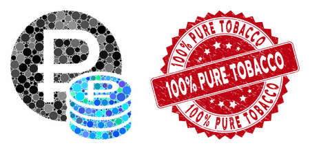 Collage rouble coins and rubber stamp seal with 100% Pure Tobacco phrase. Mosaic vector is created with rouble coins icon and with random spheric spots. 100% Pure Tobacco seal uses red color,
