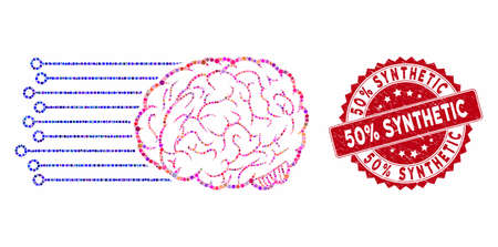 Mosaic brain connections and rubber stamp seal with 50% Synthetic phrase. Mosaic vector is designed with brain connections icon and with random round items. 50% Synthetic stamp seal uses red color, Illustration