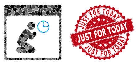 Collage pray clock calendar page and rubber stamp seal with Just for Today phrase. Mosaic vector is created with pray clock calendar page icon and with randomized spheric elements.