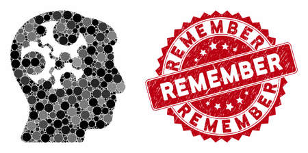 Mosaic mind gears and distressed stamp seal with Remember caption. Mosaic vector is composed with mind gears icon and with scattered round elements. Remember stamp seal uses red color,