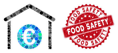 Mosaic Euro storage garage and corroded stamp seal with Food Safety phrase. Mosaic vector is created with Euro storage garage icon and with random round spots. Food Safety stamp seal uses red color, Illustration