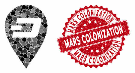 Collage Dash map marker and distressed stamp seal with Mars Colonization caption. Mosaic vector is designed with Dash map marker icon and with scattered spheric elements.