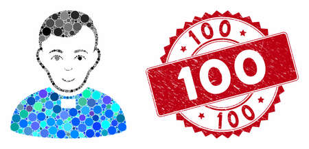 Mosaic priest and corroded stamp seal with 100 text. Mosaic vector is formed with priest icon and with scattered circle spots. 100 stamp seal uses red color, and grunge surface.