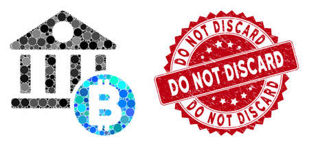 Mosaic Bitcoin bank and corroded stamp seal with Do Not Discard text. Mosaic vector is formed with Bitcoin bank icon and with randomized spheric items. Do Not Discard seal uses red color,
