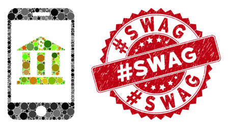Mosaic mobile bank and grunge stamp seal with #Swag text. Mosaic vector is designed with mobile bank icon and with scattered circle items. #Swag stamp seal uses red color, and grunge texture.