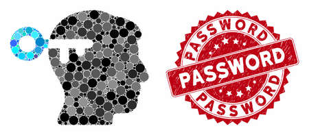 Mosaic mind key and grunge stamp seal with Password text. Mosaic vector is created with mind key icon and with random spheric spots. Password stamp uses red color, and grunged design.