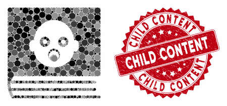 Mosaic baby album and corroded stamp seal with Child Content caption. Mosaic vector is created with baby album icon and with randomized circle spots. Child Content stamp seal uses red color,