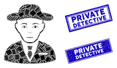 Mosaic secret service agent icon and rectangular rubber prints. Flat vector secret service agent mosaic icon of randomized rotated rectangular items. Blue caption seal stamps with dirty textures.