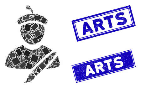Mosaic painter pictogram and rectangular seals. Flat vector painter mosaic pictogram of randomized rotated rectangular items. Blue caption seals with corroded texture.