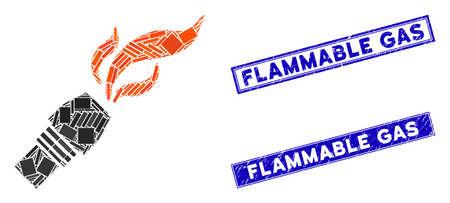 Mosaic burner nozzle fire pictogram and rectangular seal stamps. Flat vector burner nozzle fire mosaic pictogram of scattered rotated rectangular elements. Vector Illustration