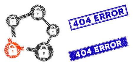 Mosaic broken blockchain network icon and rectangular seal stamps. Flat vector broken blockchain network mosaic icon of randomized rotated rectangle items. Çizim